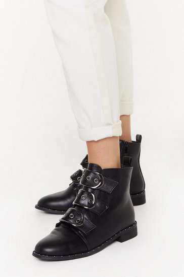Womens Black Triple Buckle Tumbled PU Biker Boots