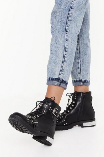 Womens Black Stud Lace Double Buckle Biker Boot