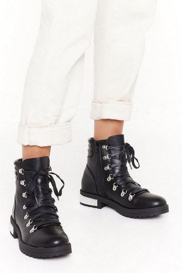 Womens Black PU Metal Heel Detail D Ring Hiker Boots