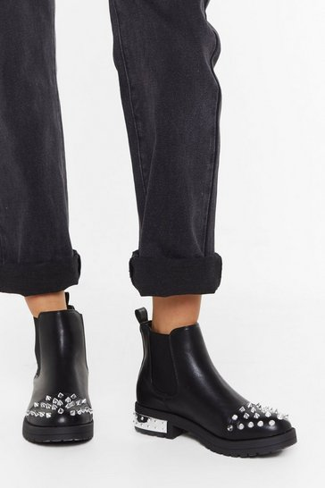 Womens Black Spike Toe PU Chelsea Boots