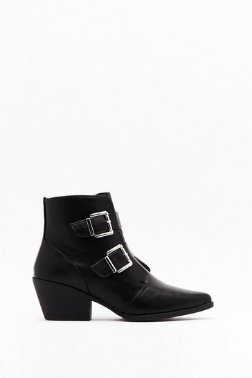 Black Double Trouble Faux Leather Buckle Boots