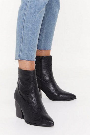 Womens Black Turn Back the Croc Faux Leather Western Boots