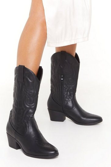 Womens Black The Midwest Faux Leather Cowboy Boots