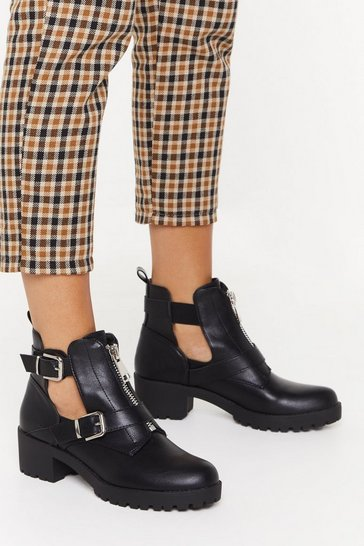 Black Cut You Off Faux Leather Double Buckle Boots