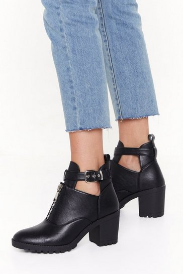 Womens Black Cut-Out of the Way Faux Leather Heeled Boots