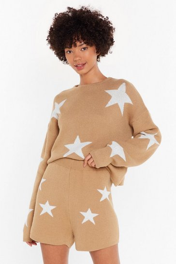 Oatmeal Shine for Now Star Sweater and Shorts Lounge Set