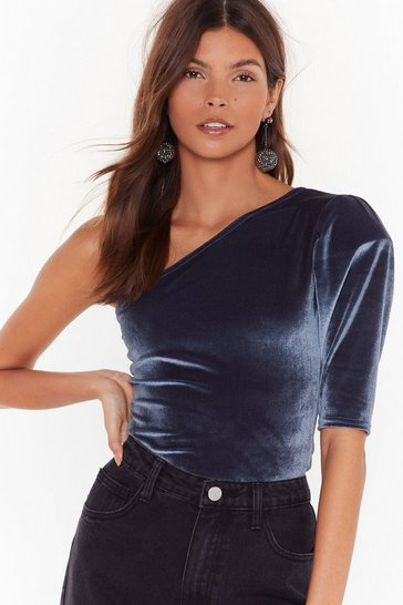 Slate Extra Smooth Velvet One Shoulder Bodysuit