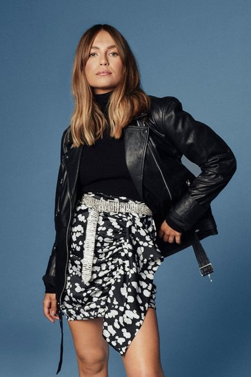 Black Oversized Leather Moto Jacket with Zip Closure at Front