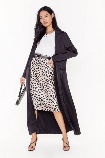 Black  satin duster coat