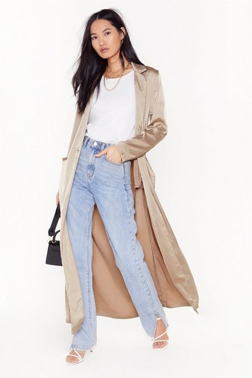 Womens Taupe  satin duster coat