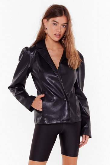 Black Faux Leather Knew Love Like This Puff Blazer