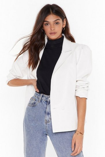 Womens White  pu double breasted puff sleeve blazer