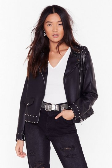 Womens Black Like They Stud a Chance Faux Leather Fringe Jacket