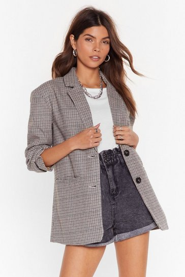 Womens Beige Look What I Houndstooth Oversized Wool Blazer