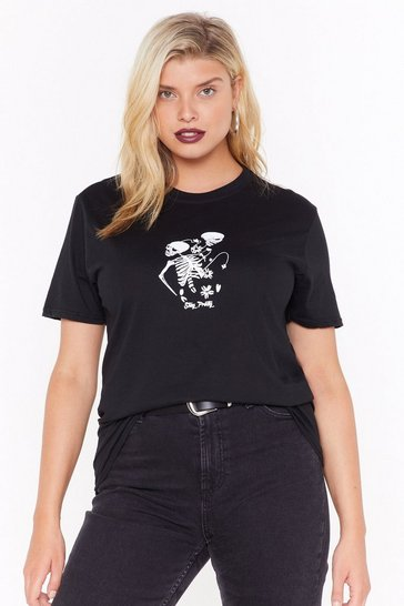 Womens Black plus skeleton line drawing tee
