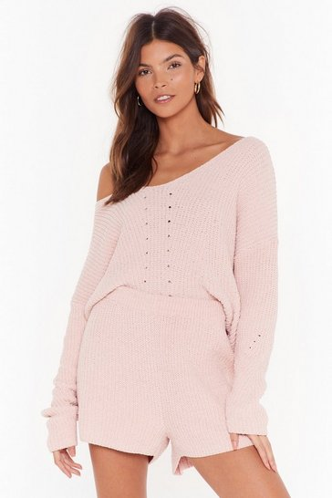 Womens Nude Chenille Out V-Neck Jumper and Shorts Lounge Set