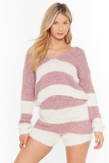 Mauve Stripe tape yarn knitted lounge top & short set