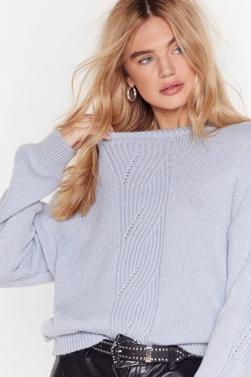 Womens Blue What's the Pointelle Knit Sweater