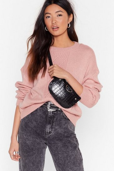 Soft pink What's the Pointelle Knit Sweater