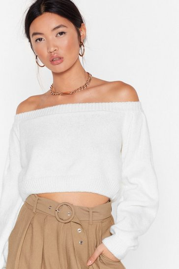 Ecru Off the Hook Knitted Cropped Sweater