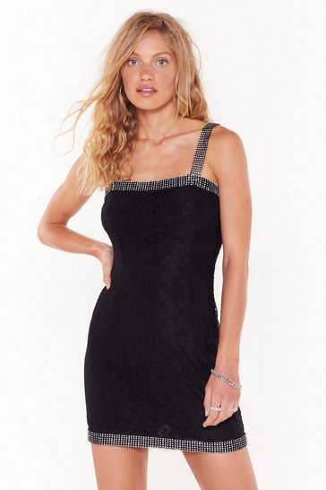 Womens Black Play Ice Diamante Lace Mini Dress