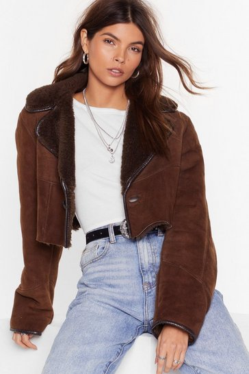 Womens Light brown Nasty Gal Vintage Suede for Loving You Cropped Jacket
