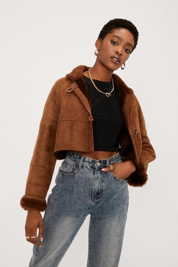 Dark brown Nasty Gal Vintage Suede Your Cards Right Shearling Coat