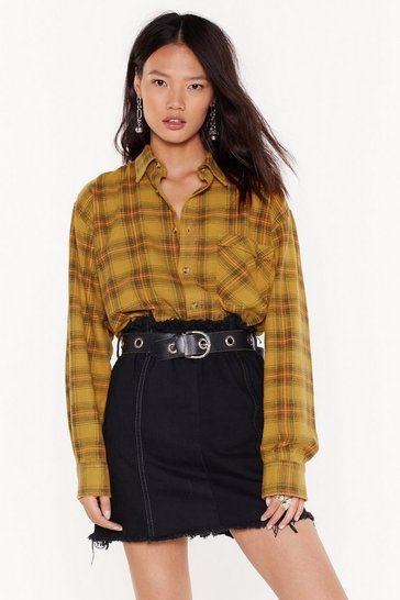 Womens Mustard Nasty Gal Vintage Come On Over-sized Check Shirt
