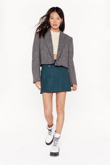 Grey Nasty Gal Vintage Crop 'Till You Drop Tweed Blazer