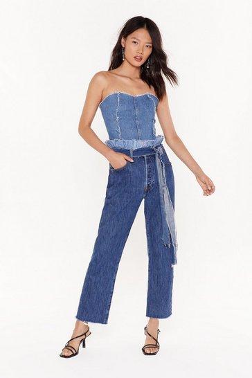 Blue Nasty Gal Vintage Fray I Like It Wide Leg Jeans
