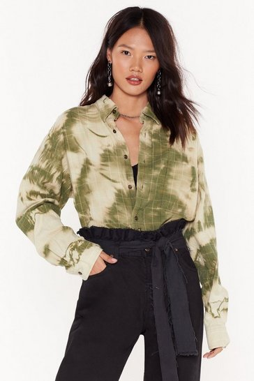Womens Green Nasty Gal Vintage In My Minds Tie Dye Cropped Shirt