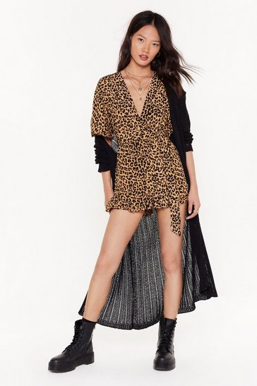 Womens Camel Growl Down Bitches Leopard Relaxed Romper