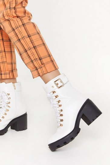 Womens White If the Boot Fits Faux Leather Lace-Up Boots