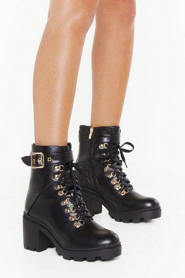 Black Lace Up Block Heel Biker Boots