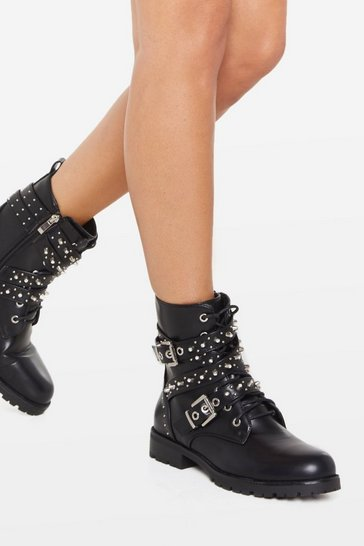 Womens Black Looks Stud on You Biker Boots