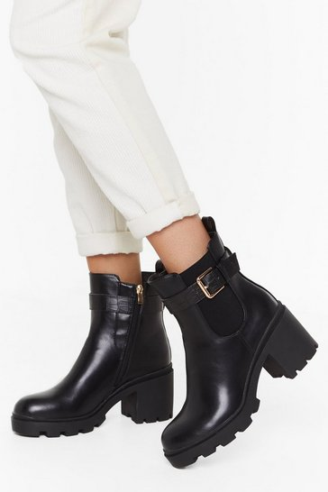 Womens Black PU Buckle Block Heel Chelsea Boots