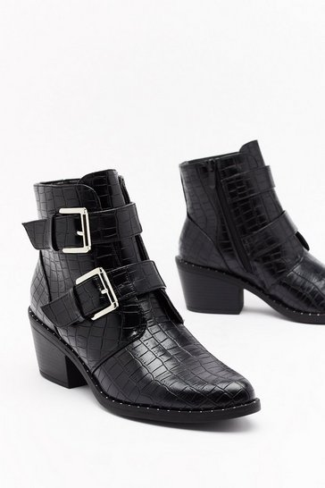 Womens Black What the Buck-le Faux Leather Croc Boots