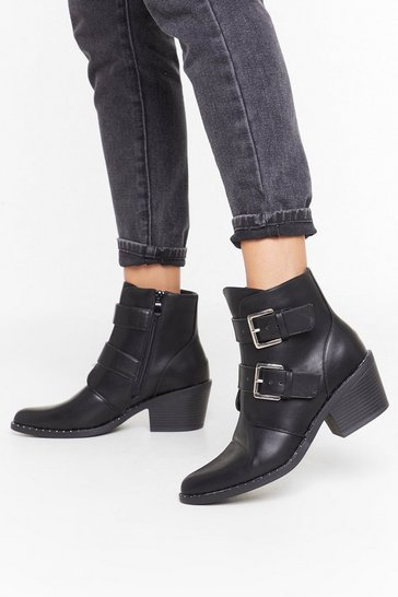 Womens Black Try Your Buck-le Faux Leather Ankle Boots