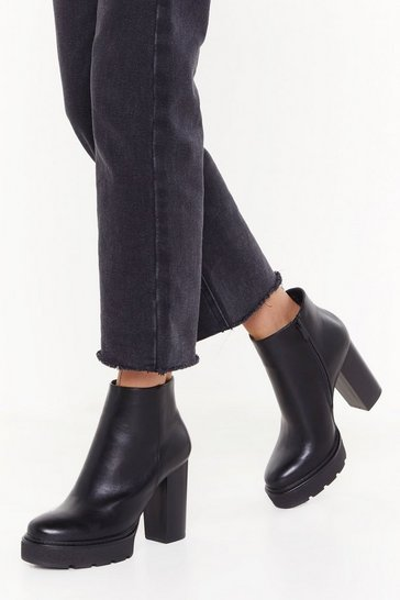 Womens Black Stomp Out the Competition Faux Leather Platform Boots
