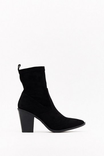 Black Really Put Your Foot in It Faux Suede Sock Boots