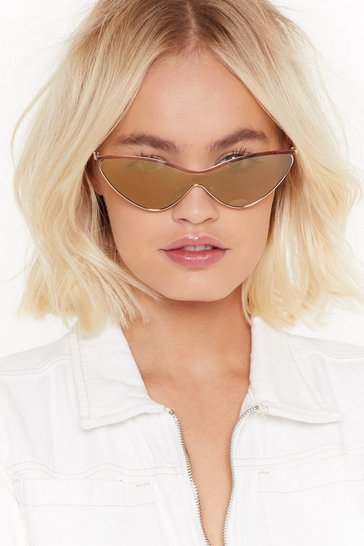 Womens Gold She's So Frameless Cat-Eye Sunglasses