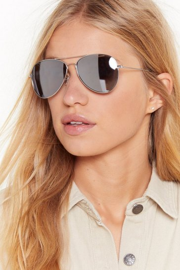 Womens Silver Blocking Out the Haters Aviator Tinted Sunglasses