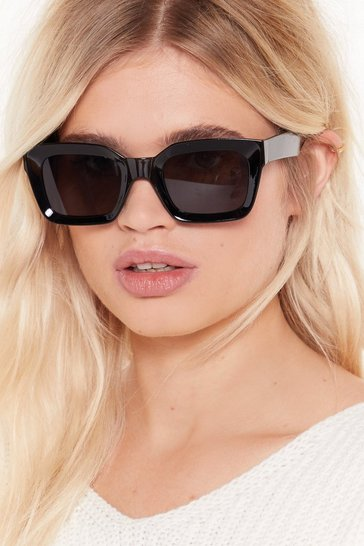 Womens Black Throwin' Shade Square Sunglasses