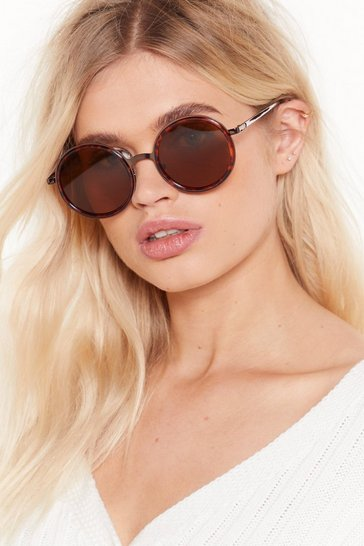 Womens Brown Round of Applause Tortoiseshell Tinted Sunglasses