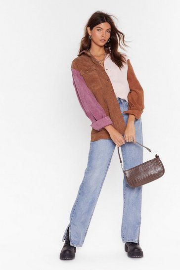 Tan Multi Colored Corduroy Shirt with Long Sleeves