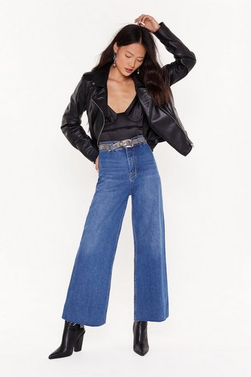 Womens Blue Walk On the Wide Side High-Waisted Jeans