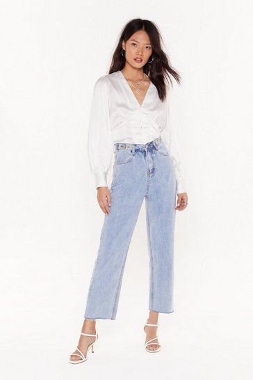 Womens Blue Fru-straight 'Em Cropped Jeans