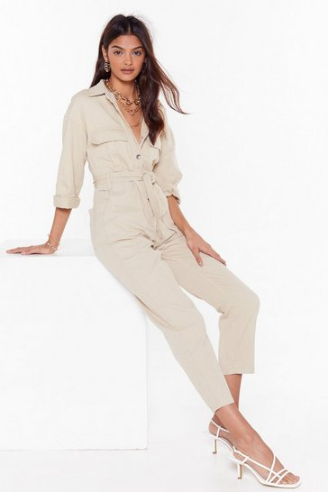 Womens Stone All in a Day's Work Denim Boilersuit