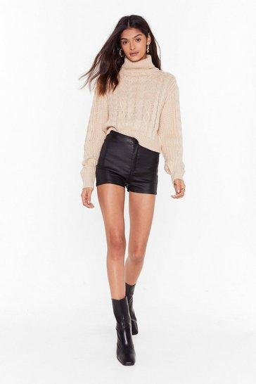 Womens Black Focus on Tight Now High-Waisted Denim Shorts