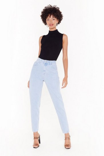 Womens Blue Don't Forget to Say High-Waisted Mom Jeans